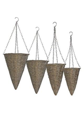 Горшок для растений комплект з 4-х шт, лоза, цвет серый