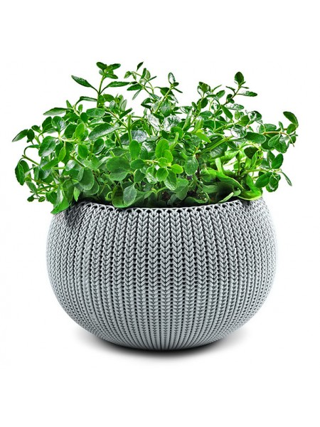 Горшок для растений COZIES M серый в комплекте цепочка