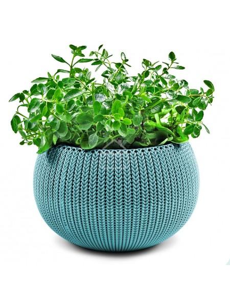 Горшок для растений COZIES M бирюзовый, в комплекте цепочка