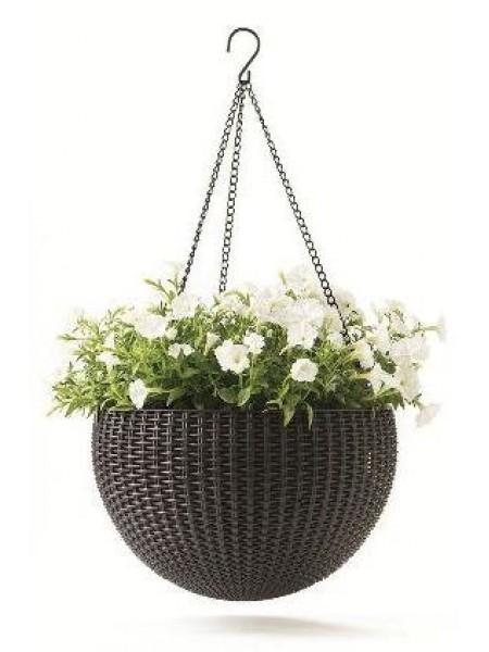 Горшок для растений Rattan hanging sphere в комплекте цепочка коричневый