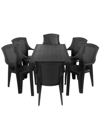 Комплект меблів Progarden Joker 6 крісел Eden антрацит