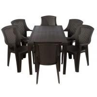 Комплект меблів Progarden Joker 6 крісел Eden коричневий