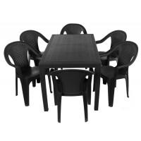Комплект меблів Progarden Joker 6 крісел Ischia антрацит