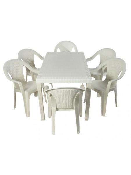 Комплект меблів Progarden Joker 6 крісел Ischia білий