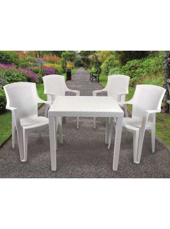 Комплект меблів Progarden King 4 крісла Eden білий
