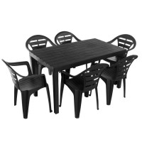 Комплект меблів Progarden Sumatra 6 крісел Moyo антрацит