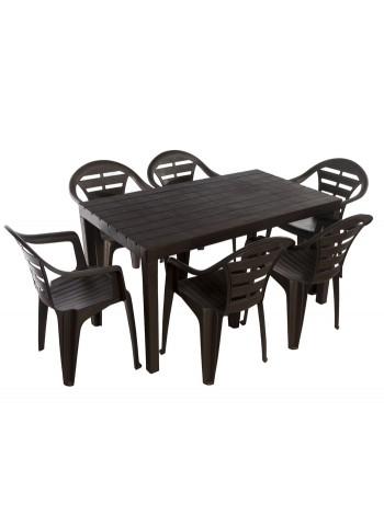 Комплект меблів Progarden Sumatra 6 крісел Moyo коричневий