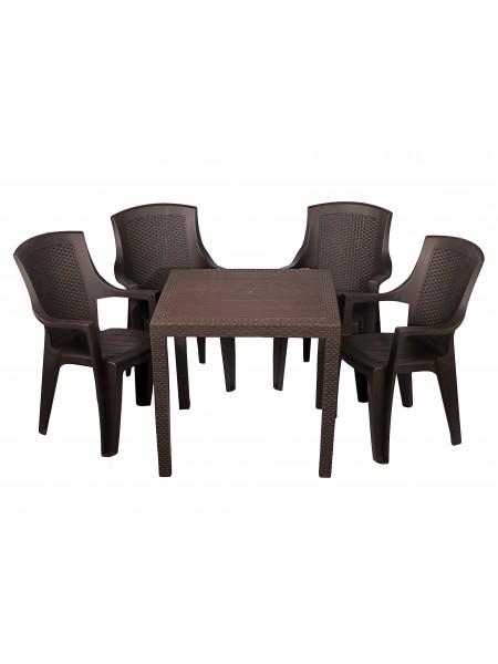 Комплект мебели Progarden King 4 кресла Eden коричневый