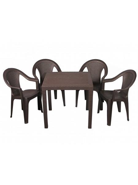 Набор Progarden King 4 кресла Ischia коричневый