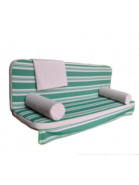 Мягкий комплект к качелям Ost-Fran King teksilk бело-зелёный