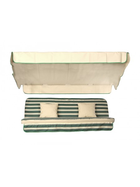 Мягкий комплект к качелям Ost-Fran Seattle бежево-зеленая полоса